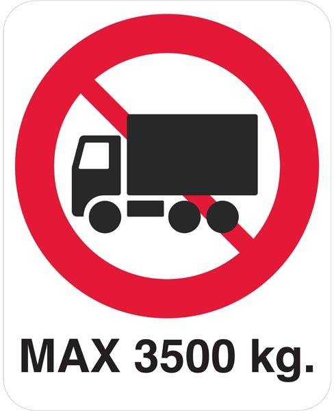 Lastbil forbud max3500 kg skilt