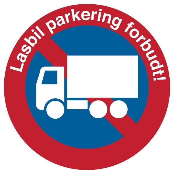 Lastbil parkering forbudt. P skilt