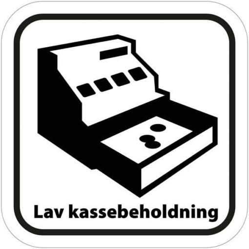LAV KASSEBEHOLDNING - piktogram. skilt