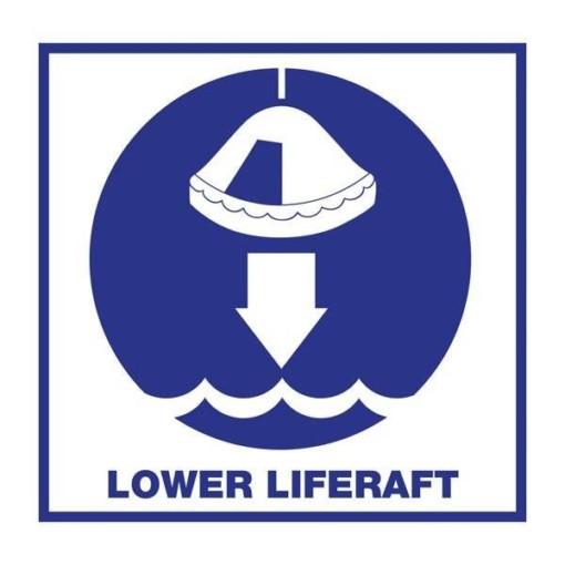 Lower Liferaft: Redningsskilt