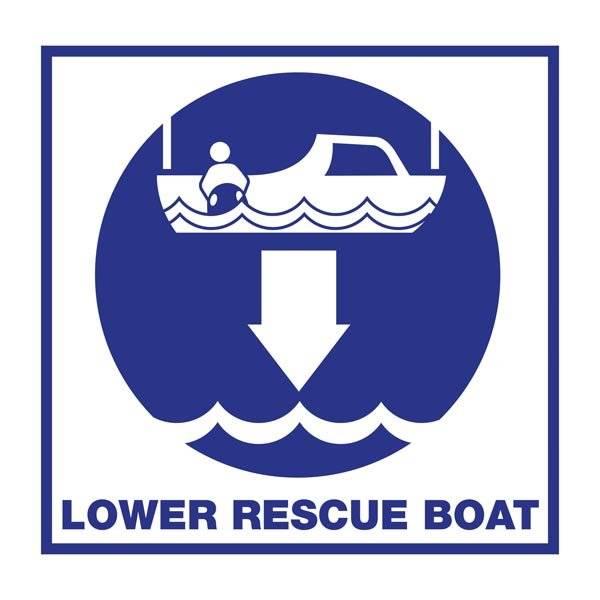 Lower Rescue Boat: Redningsskilt