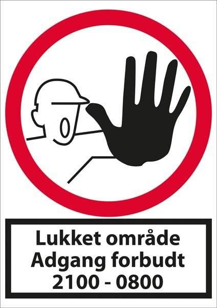 Lukket område adgang forbudt 21-08. Forbudsskilt
