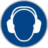 M003 ISO 7010 Høreværn. Påbudsskilt