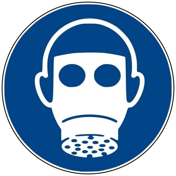 M017 ISO 7010 Gasmaske påbudt. Påbudsskilt