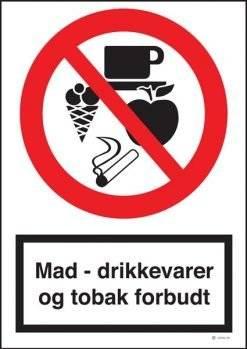 Mad-drikkevare og tobak forbudt skilt