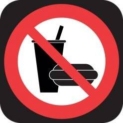 Mad og drikke forbudt -Piktogram skilt