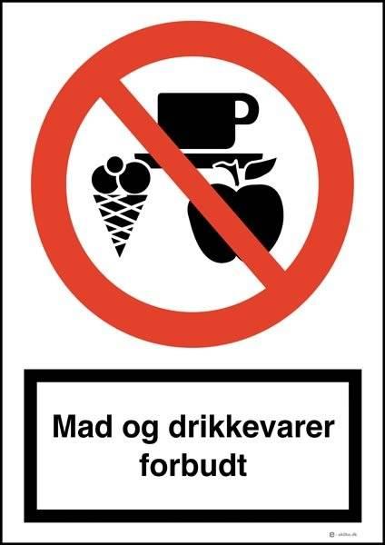 Mad og drikkevarer forbudt skilt