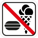 Mad og slik forbudt - Piktogram skilt