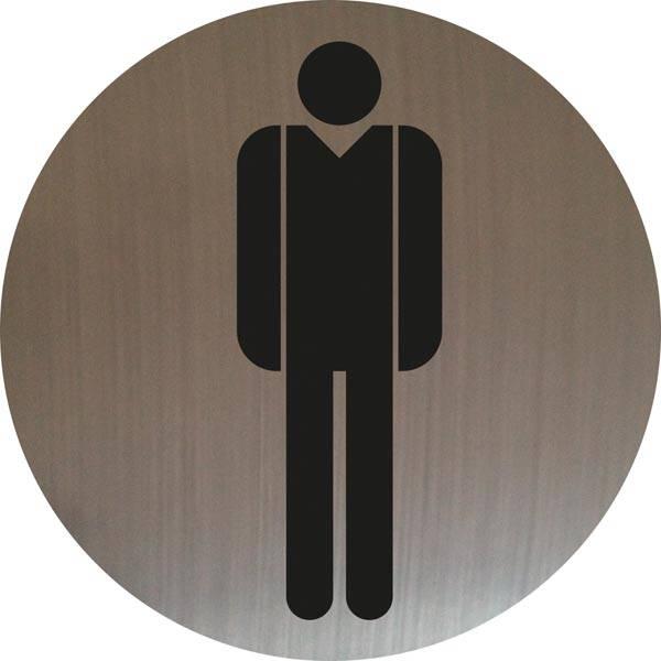 Mand toiletskilt rundt på børstet stålfolie Skilt