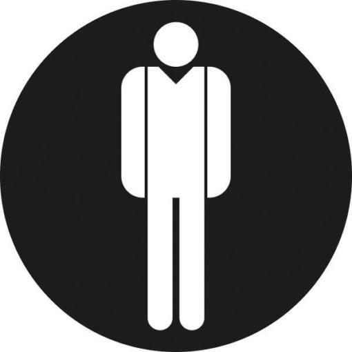 Mand toiletskilt rundt Sort bund Skilt