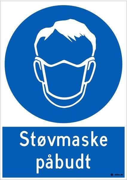Støv maske påbudt. Påbudsskilt