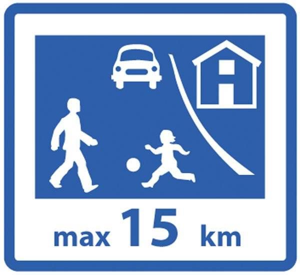 Legende børn max15 km. skilt