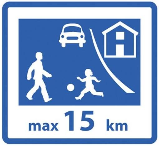 Legende børn max 15 km - Aluminiumsplade med refleksfolie