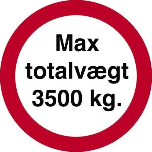 Max totalvægt 3500 kg. Forbudt skilt