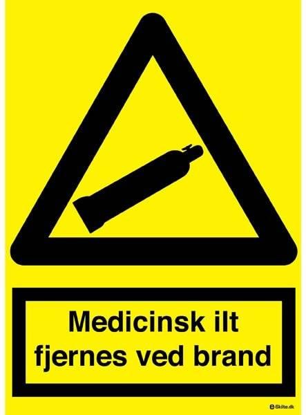 Advarselsskilt - Medicinsk ilt fjernes ved brand