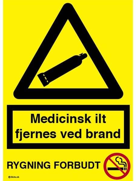 Medicinsk ilt fjernes ved brand+Rygning forbudt. Advarselsskilt