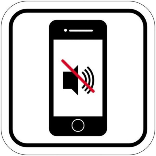 Mobil lyd forbuds piktogram. skilt