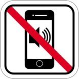 Mobil iphone lyd forbuds piktogram. skilt