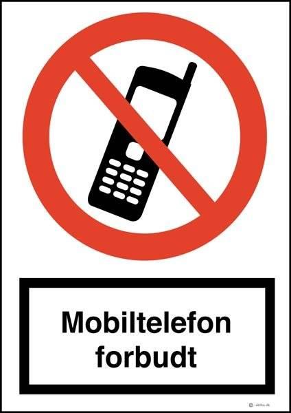 Mobiltelefon forbudt skilt