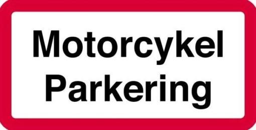 Motorcykel parkering. Skilt