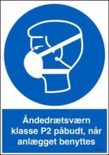 Åndedrætsværn klasse P2 påbudt