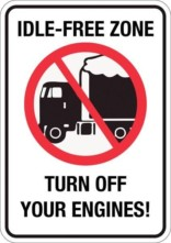 Idel-free zone Turn off your engines!. Forbudsskilt