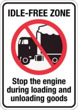 Idle-free zone Stop the engine during loading and unloading goods. Forbudsskilt