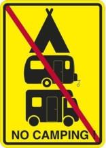 No Camping! skilt