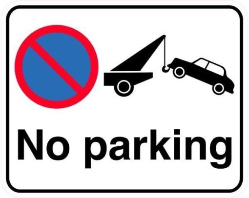 No parking. Parkeringsforbudt skilt