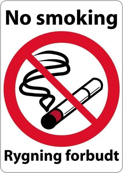 No smoking Rygning forbudt skilt