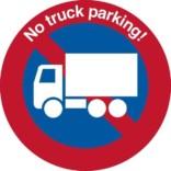 No truck parking!. P forbudsskilt