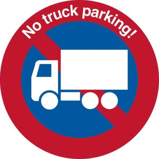 No truck parking!. P forbudsskilt