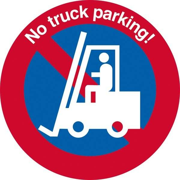 No truck parking! P forbudsskilt