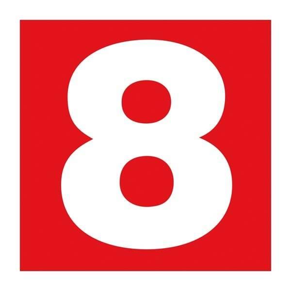 Number 8. Brandskilt