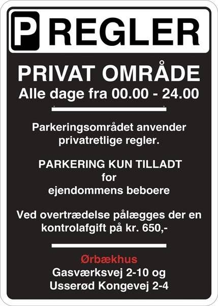 Parkerings regelskilt Sort. Parkeringsskilt