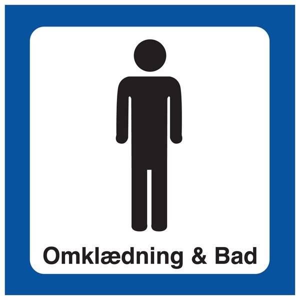 Mand Omklædning & Bad. Toiletskilt