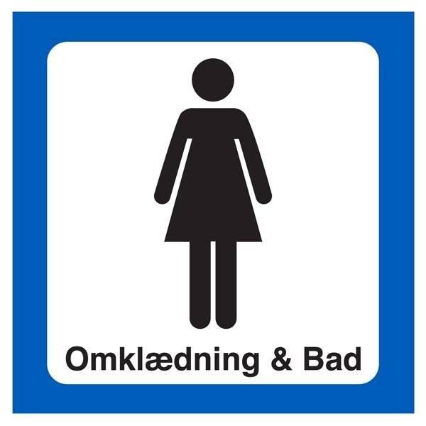 Dame Omklædning & Bad. Toiletskilt