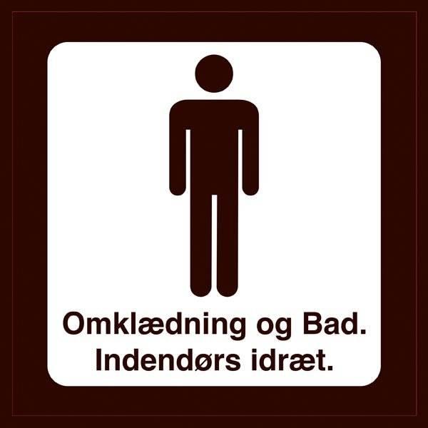 Omklædning og Bad. Indendørs idræt Mænd. Toiletskilt