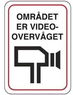 Området er videoovervåget. skilt