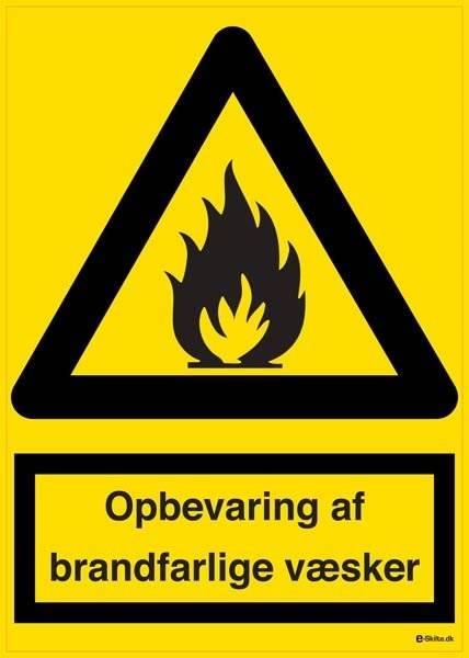 Opbevaring af brandfarlige væsker. Advarselsskilt