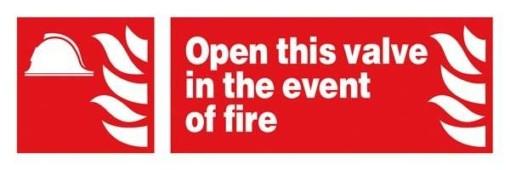 Open This Valve In Event Of Fire : Brandskilt