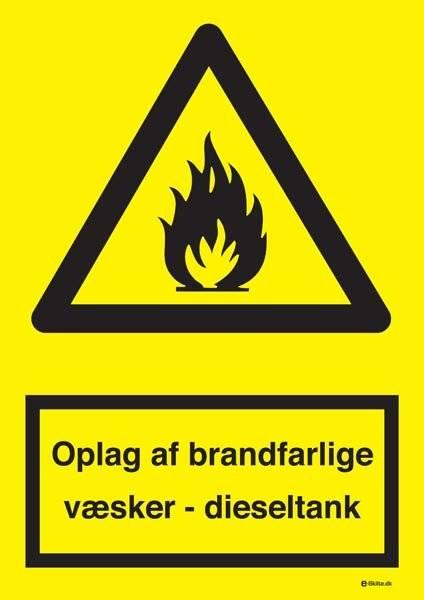 Oplag af brandfarlige væsker - dieseltank skilt
