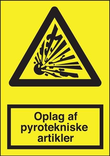 Advarselsskilt - Oplag af pyrotekniske artikler