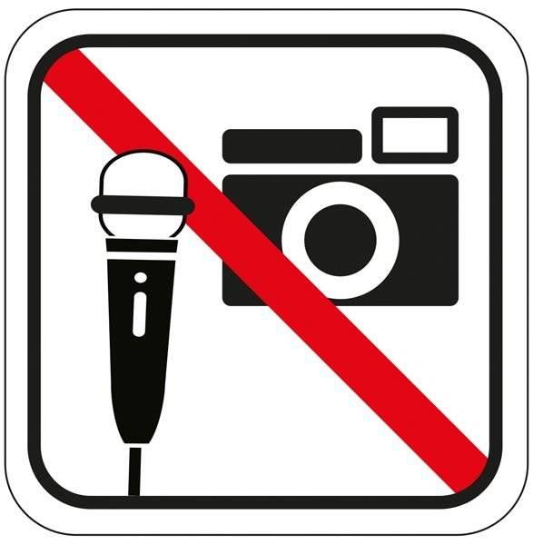 Optage og fotograferings forbuds piktogram. skilt