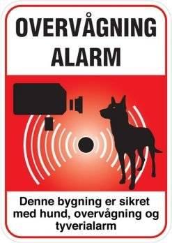 Overvågning Alarm Denne bygning er sikret med hund