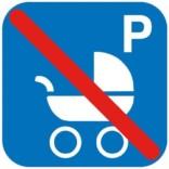P Barnevogn forbudt. Piktogram skilt