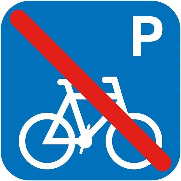 P cykler forbudt. Piktogram skilt