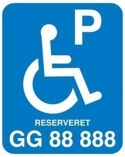 P Handicap Reserveret til xx. Skilt