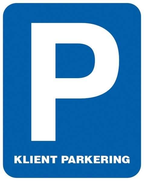 P Kunde parkering. Parkeringsskilt