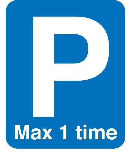 P Max 1 time skilt